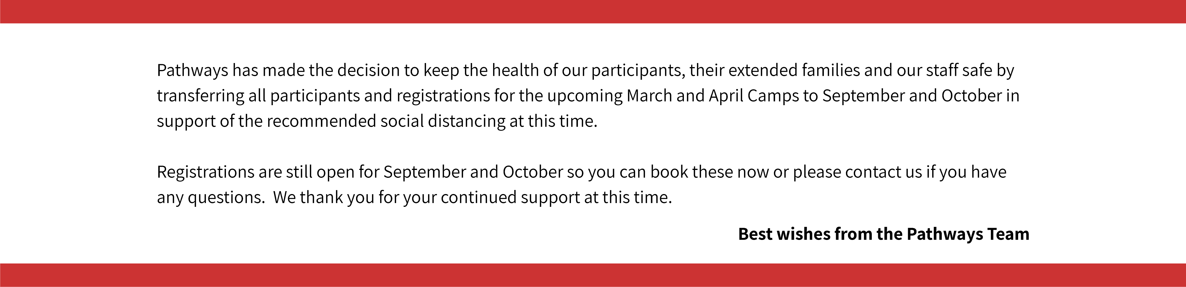Camps Cancellation